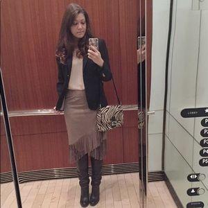 Taupe Fringe Skirt